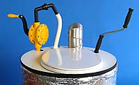 composter top with pump, exhaust vent and mixer